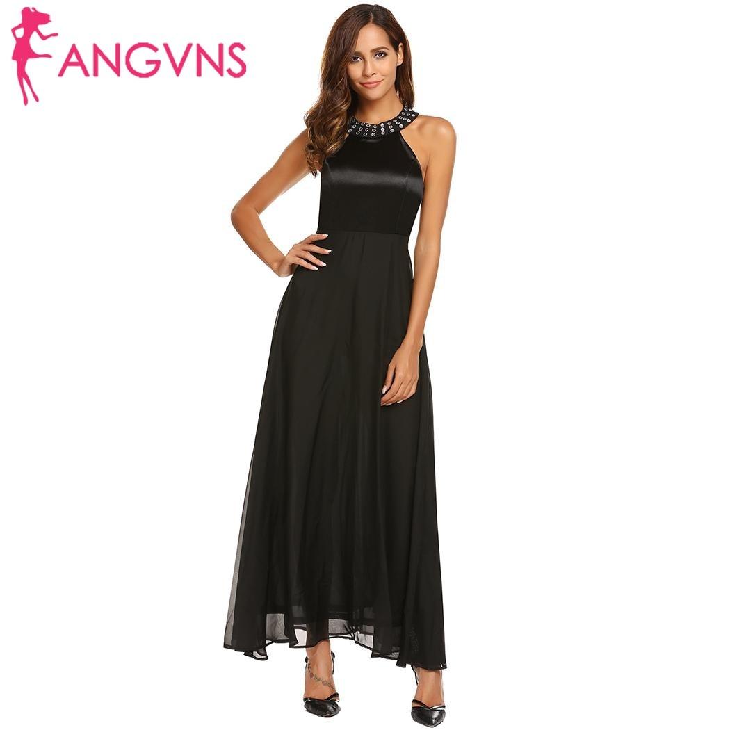 ANGVNS Women Satin Chiffon Party Long Dress Elegant Cold Shoulder  Sleeveless Rhinestones Collar Maxi Dresses Evening Vestidos-in Dresses from  Women s ... 7683a375869b