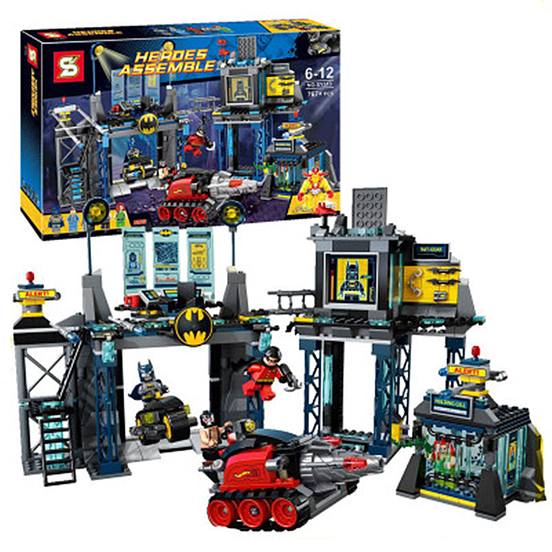 Lepin Batman Super Heroes Building Blocks Bricks Compatible 6860 The Batcave Jokerland Batmobile Bane Bruce Wayne Robin SY513 kazi 608pcs pirates armada flagship building blocks brinquedos caribbean warship sets the black pearl compatible with bricks