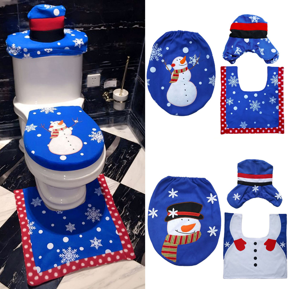 NC 3PCS Christmas Decorations Happy Santa Toilet Seat Cover Rug Tank Cover Bathroom  Set Christmas Home