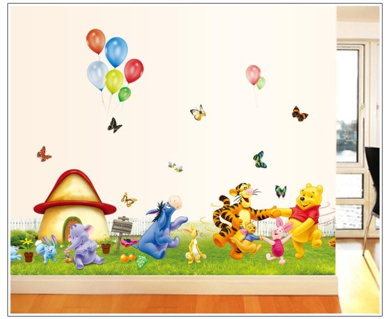 Bear Tiger Butterfly Animals Cartoon Wall Stickers For Kids Rooms 7039 Decorative Removable Pvc Wall Decal Nursery Room Decor