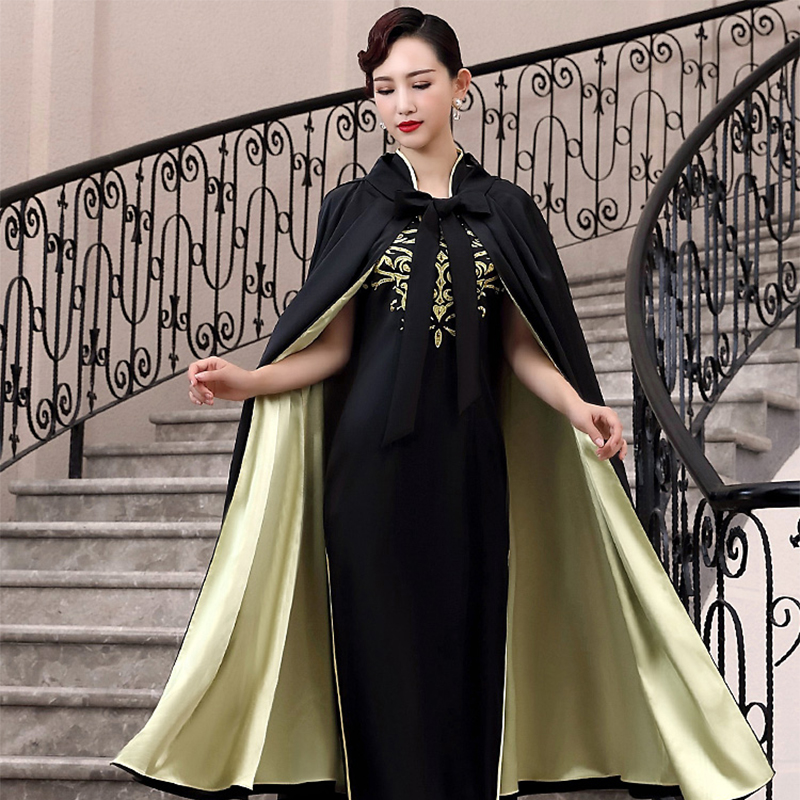 Chinese Style Women Stage Show Dress Nevolty Autumn Winter New Qipao Suit Black Sexy Full Lengtth Cherongsam Vestidos Size S-XXL