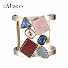 eManco Wide Cuff Bracelet for women with Crystals Created & Stones Copper Bracelets & Bangles women's jewelry