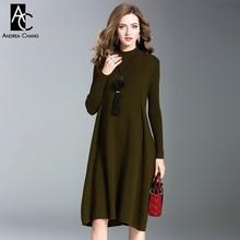 На осень-зиму женские платья темно-зеленый оливковый цвет трикотажное платье с кисточкой меховой шарик ожерелье выше колена повседневные большие размеры платье