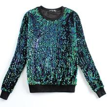 New Fashion women Hoodies Round neck brand Sequined beading gold green Sweatshirts plus size xxl