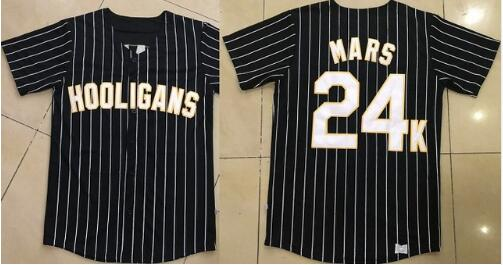 BONJEAN Men Stripe Stitched Button Down Glod Edge Bruno Mars 24K Hooligans Black Pinstriped BET Awards Baseball Jersey