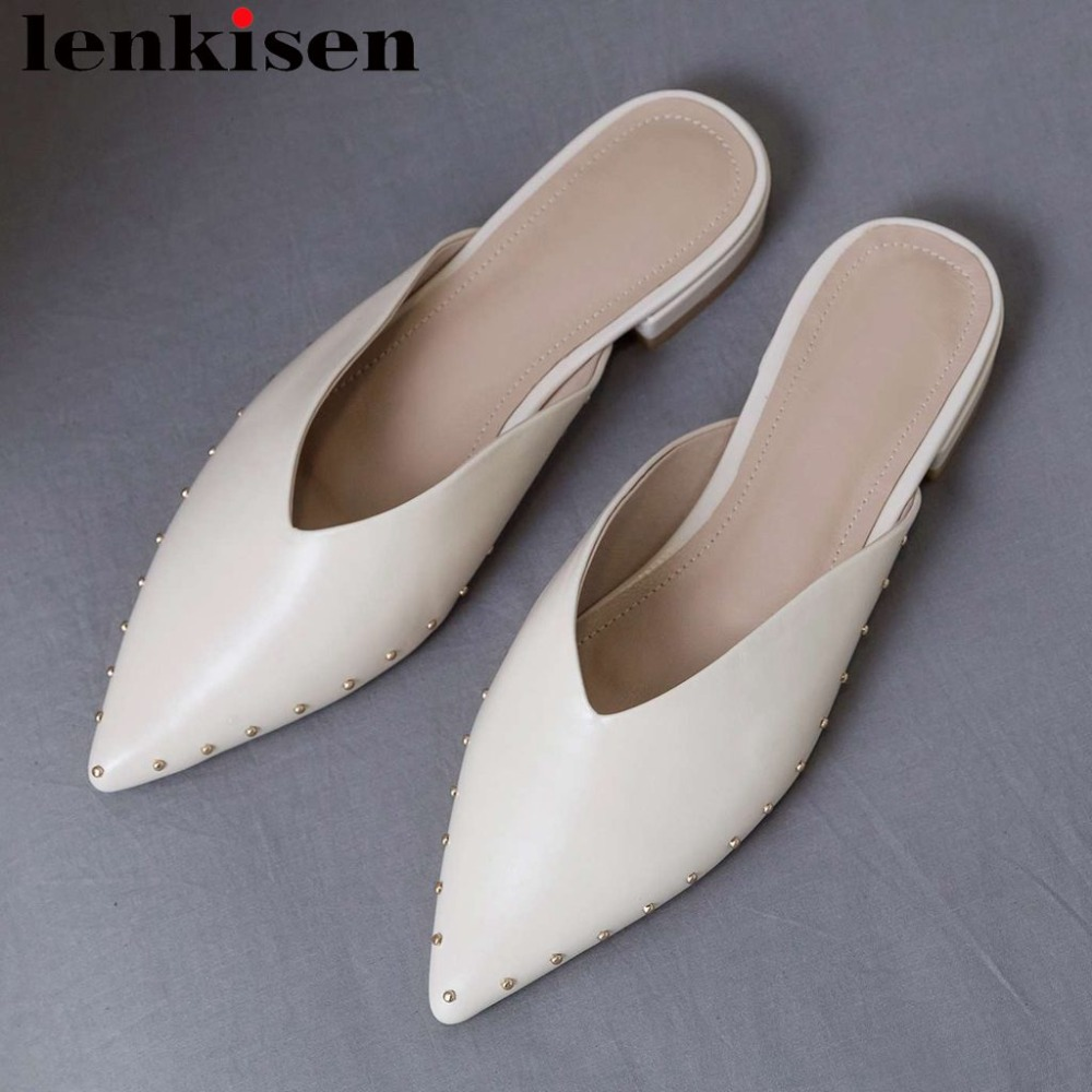 Lenkisen full grain leather low heels slip on mules rivets original design pointed toe simple style