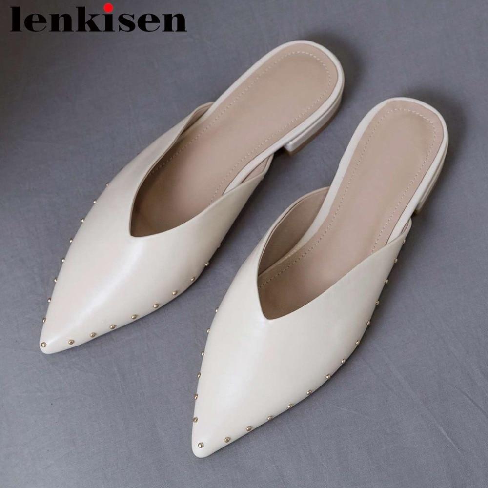 Lenkisen 전체 곡물 가죽 낮은 발 뒤꿈치 노새 리벳 원래 디자인 지적 발가락 간단한 스타일 clubwear 데이트 펌프 l27-에서여성용 펌프부터 신발 의  그룹 1