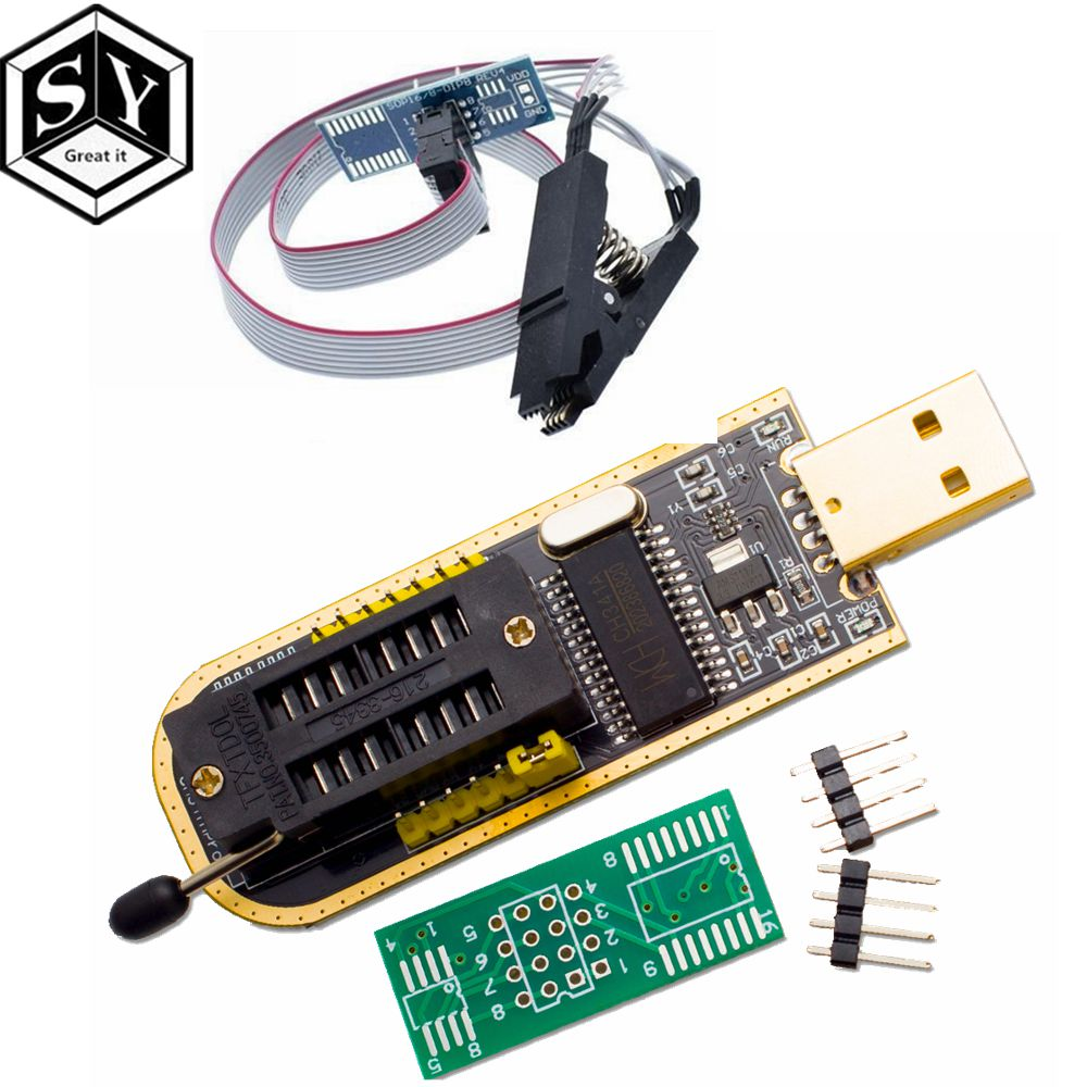1PCS Great IT Smart Electronics CH340 CH340G CH341 CH341A 24 25 Series EEPROM Flash BIOS USB Programmer with Software & Driver