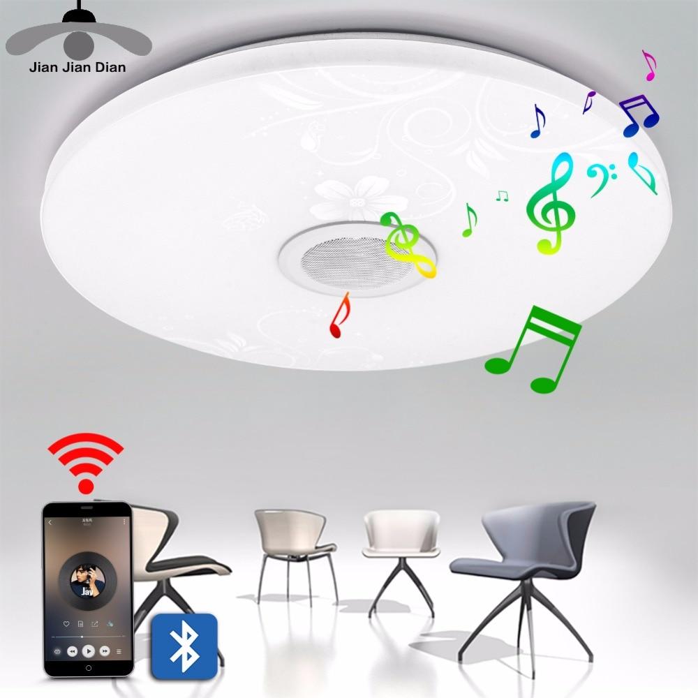 JJD Modern Blutooth music LED Ceiling Light Surface Hall Flush Living Room Bedroom Lighting Fixture Mount Panel Round Lamp