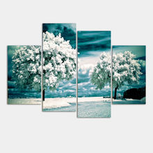 New Modular Pictures 4 Panel Tree Paintings Canvas Wall Art Picture Home Decoration Living Room Print