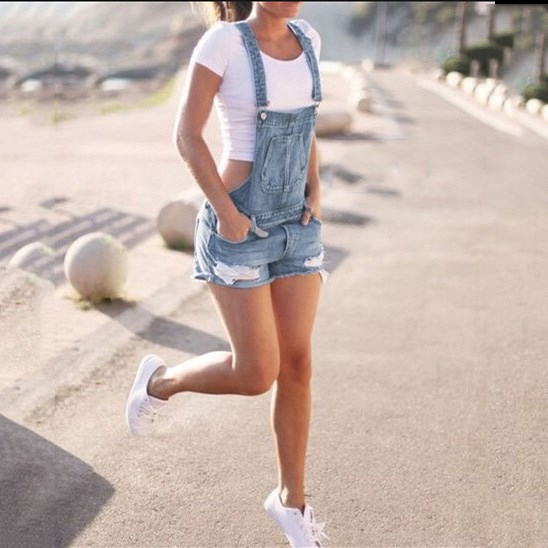 2019 Newest Women 39 s Plus Size Denims Pants Romper Hole Ripped Jeans Overalls Jumpsuits Casual Suspender Trousers Shorts in Rompers from Women 39 s Clothing