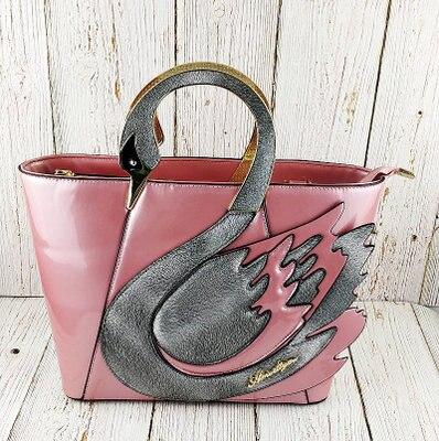 site réputé 53b96 b5a75 € 42.37 15% de réduction|2018 mode femmes en cuir sac bandoulière noir  fourre tout décontractés dame sacs à bandoulière rose Animal Swan sacs à  main ...