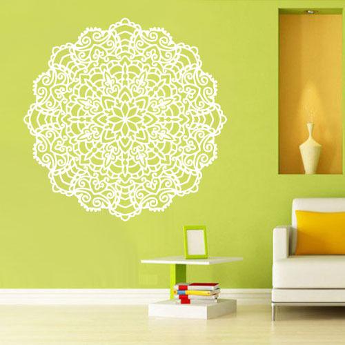 Details about Wall Decal Vinyl Sticker Mandala Menhdi Flower Om Indian Hindu Buddha 85X85CM
