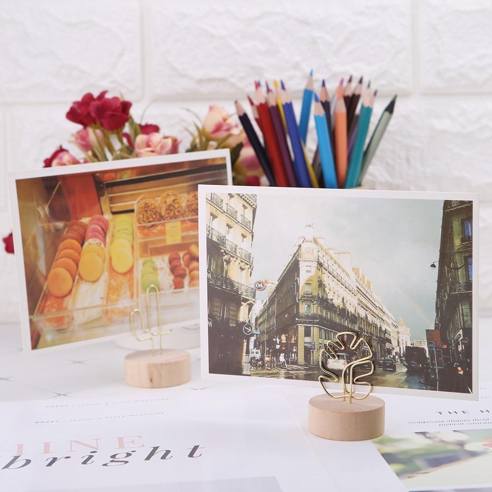 Intelligent Memo Card Photo Bericht Foto Clip Noot Klem Tafel Nummers Ronde Houten Base Houder Voor Wedding Party Met Traditionele Methoden