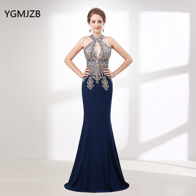 Elegant Mermaid Evening Dress Long 2018 Halter Sleeveless Beaded