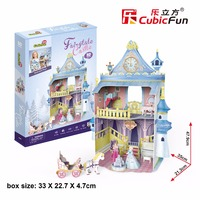 CubicFun 3D puzzle paper model assemble building fairytale castle girl play house baby story hand work game birthday gift 1set