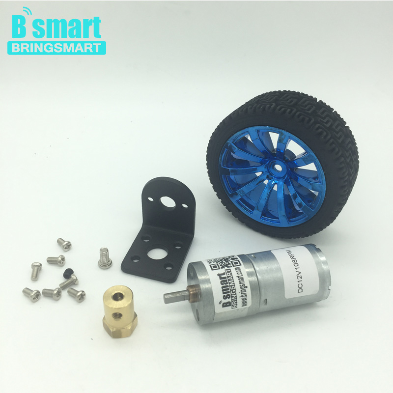 Wholesale Gear Motor 12V DC Motor With Mounting Bracket,Motor Shaft Coupling,Smart Car Wheel Micro DC Motors For Toys wholesale bringsmart 37mm diameter gear motor mounting bracket with screw shaft coupling for diy car use fixed motor bracket