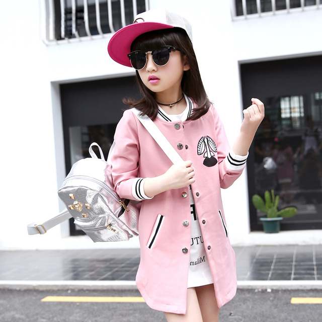 Girls trench coat children clothing for baseball uniform girls fall style outerwear 2016 autumn kids leisure cardigan long coat