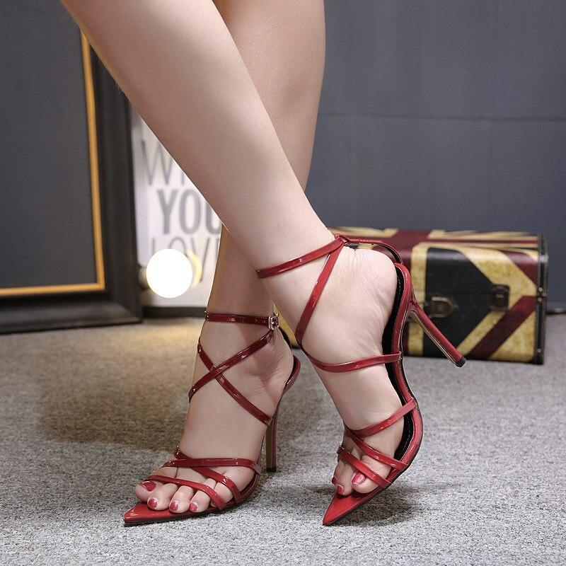 HTB17Fc0X4rvK1RjSszeq6yObFXa5 LTARTA Sexy Yellow Sandals Ladies Sandals Summer New Pointed Fish Mouth Cross Stilettos Sharp Point Toe 11.5cm heels ZL-222-5