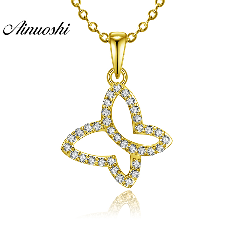 AINUOSHI 10K Solid Yellow Gold Pendant Hollow Pattern Pendant SONA Diamond Women Men Jewelry Flying Butterfly Separate Pendant chic hollow out marble pattern match butterfly sunglasses for women