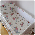 Promotion! 5PCS Bear Baby Cot Bedding Sets Cotton Cartoon Pattern Baby Bumper Bed Around Bed Sheets ,include(4bumpers+sheet)