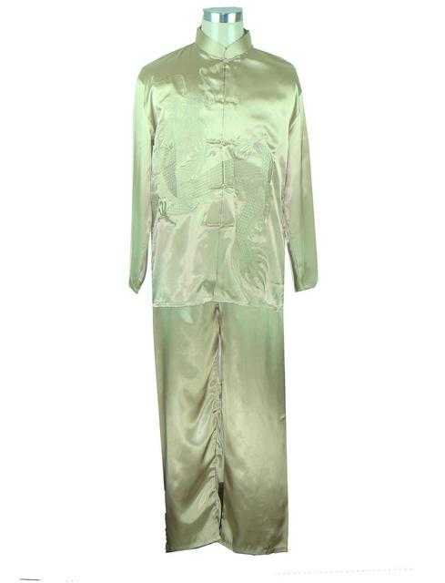 Hot Sale Gold Chinese Men Silk Satin Kung Fu Suit Vintage Wu Shu Uniform Wing Chun Sets  Shirt&Pant M L XL XXL
