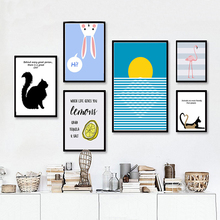 Modern Cartoon Animals  Cat Canvas Art Painting Oil Posters and Prints Nordic Wall Pictures For Living Room Home Decor Unframed