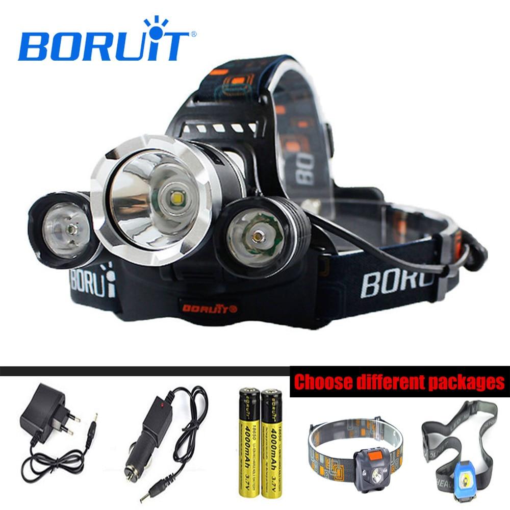 BORUIT RJ-5000 XML L2 Headlight 4 Modes USB Power Bank Headlamp Use 18650 Battery Fishing Head Torch With MINI Head Lamp W03/M01