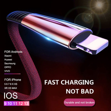 Fast USB charging Cable for Mobile Phone Type-c Micro 2M Quick Charging iPhone X XR 8 7 6 Zinc Alloy Date Line