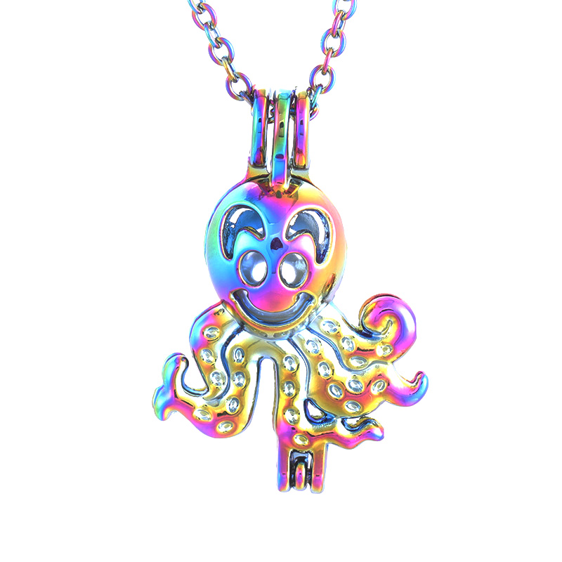 Aromatherapy necklace color <font><b>fun</b></font> small octopus metal oil diffuser 3pcs/<font><b>lot</b></font> pearl cage pendant fashion <font><b>jewelry</b></font> woman gift SC496 image