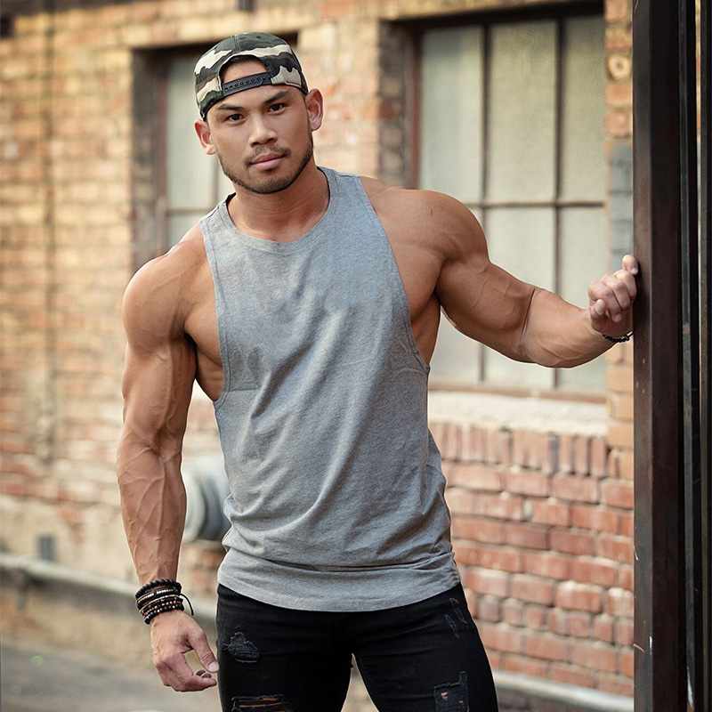 New Fashion Summer Fitness Mens Tank Top Bodybuilding Stringer Cotton Gym Undershirt Solid Sleeveless Shirt Workout Muscle Vest