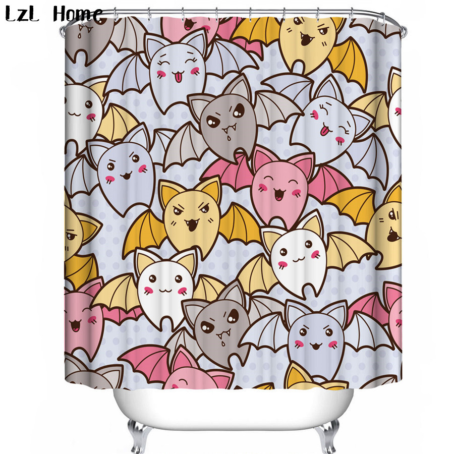 LzL Home Fabric 3d Shower Curtains Unique Funny Halloween Bathroom Curtain  Skull Spider Waterproof Hooks Halloween Decoration In Shower Curtains From  Home ...