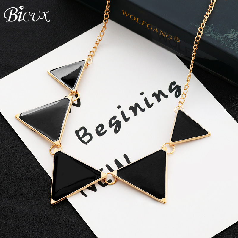BICUX Necklaces Pendants Rope-Chain Plating-Statement Women Jewelry Gold Black Vintage