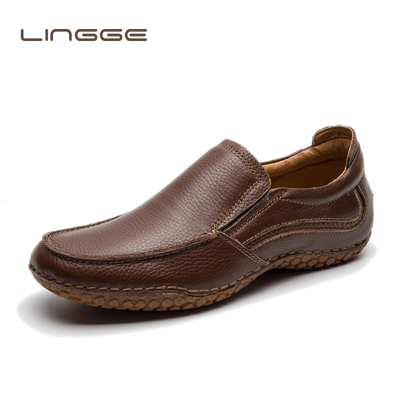LINGGE Genuine Leather Loafers Men Brand Casual Shoes Thick Sole Fashion Men s Flats Male High
