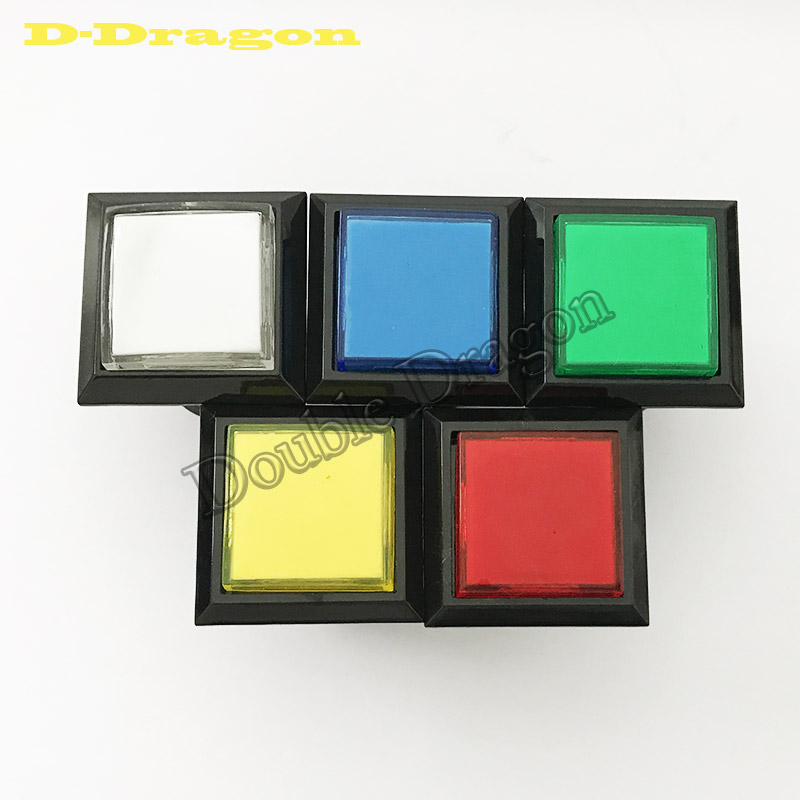 Free Shipping Factory Price 33mm Square Push Button Arcade 12V LED Momentary Push Buttons Illuminated Push Button