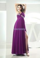 Free Shipping Famous 2013 Tea Length Formal Dresses Vestidos Formales One Shoulder Emerald Prom Dress Antique