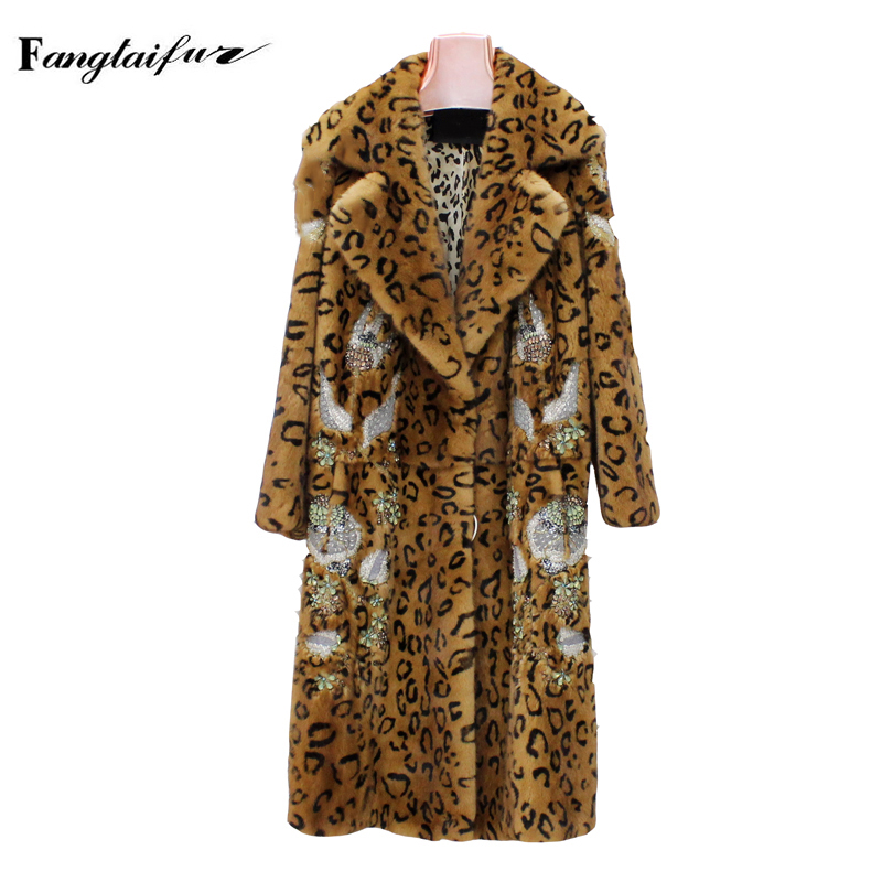Fang Tai Fur2019 Import Velvet Mink Fur Coat Turn Down Collar Leopard Beading Mink Coats Women's X Long Slim Real Mink Fur Coats