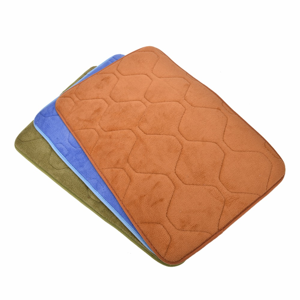 Absorbent Memory Foam Non-slip Kitchen Floor Mat Square Coral Velvet  Bathroom Shower Bath Mat Rug Sanitary Ware Suite 40cmx60cm