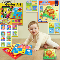 3D Puzzles Button Art,Art sketchpad Mushroom Nails Jigsaw Puzzles Kit Creative Mosaic Pegboard Montessori Educational Toys
