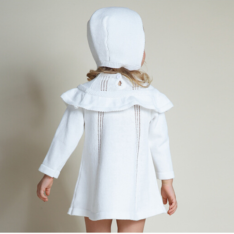 Image 4 - Girl Princess Sweater Dress New 2018 Spring Autumn Knitted Cute White Baby Dress Kids Knee Length Dress For Infant Girl dress-in Dresses from Mother & Kids