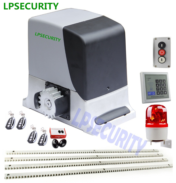 LPSECURITY 230V/120V complete kit GSM electrical automatic sliding gate motor operator 600kg with 4m 5m racks