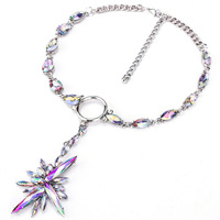 FARLENA Jewelry Hot Sale Shining Crystal Ice Flower Pendant Necklace Statement Choker Necklaces For Women
