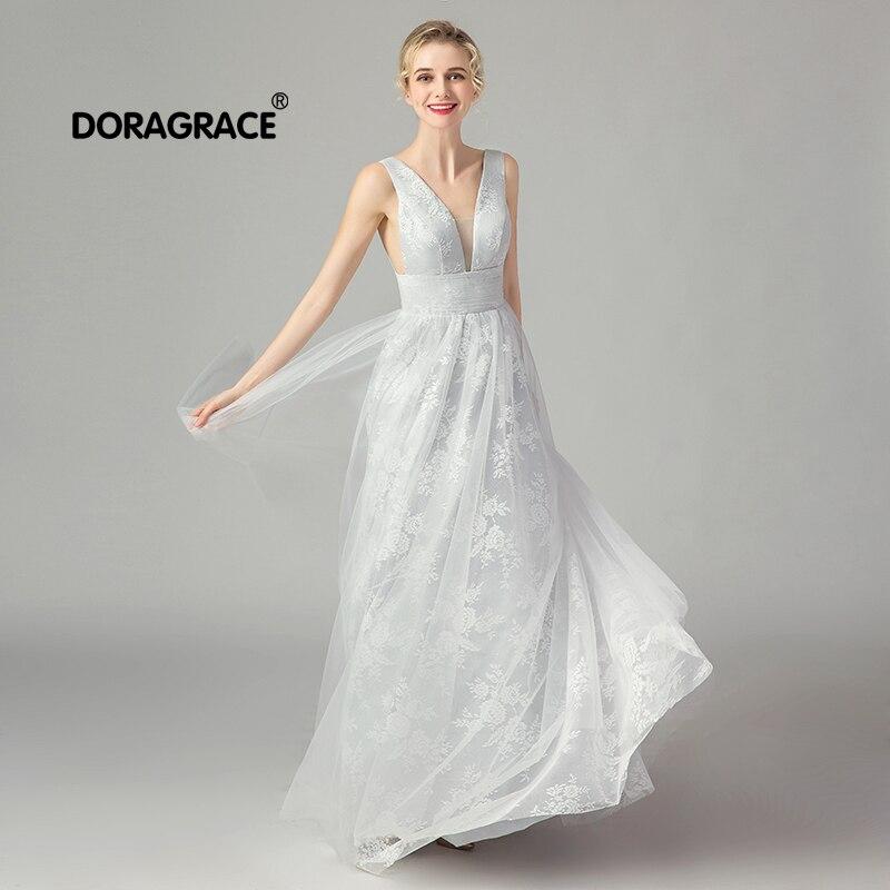Doragrace robe de soirée élégante col en v dos nu robes de soirée longues robes de bal en Stock