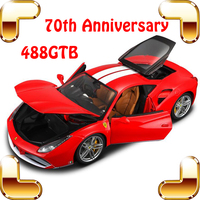 New Year Gift 70th 488GTB 1/18 Luxury Model Metal Alloy Car Collection Toys Static Big Collect Decoration Top Quality Simulation