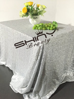 ShinyBeauty Matte Silver 72x108 Inch 180x275cm Square Sequin Tablecloth Luxurious Tablecloth Dining Table Cover R