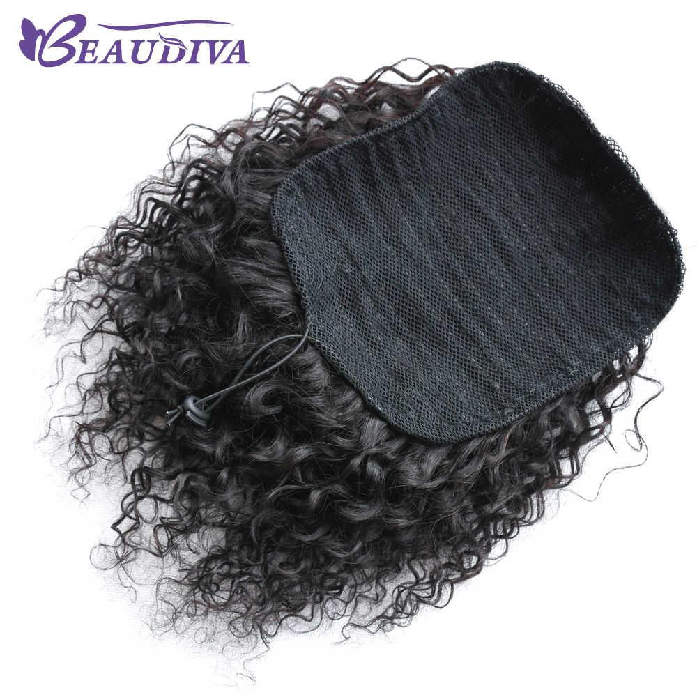 Beaudiva Малайзия афро кудрявый парик конский хвост шнурок короткий афро кудрявый пони хвост клип на человеческие вьющиеся волосы булочка Сделано