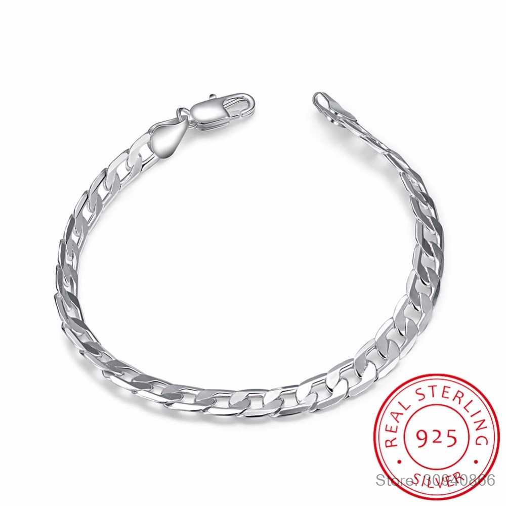 Men's Jewelry 925 sterling silver 6mm chains 20cm bracelet bangle Pulseiras de Prata For male gift free shipping