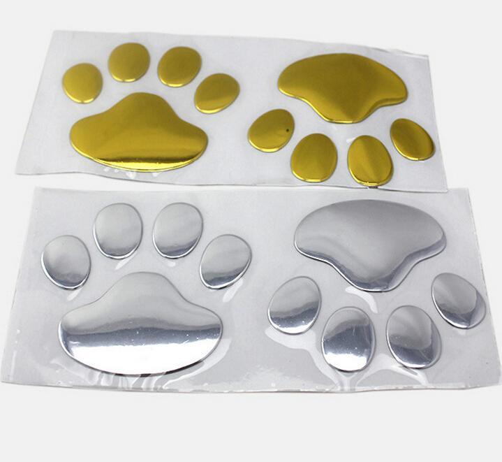 Rete Cat Footprint Golden Slivery Metallic Color PVC Car Sticker Auto Parts Automobile Accessory Car Decoration  Wholesale