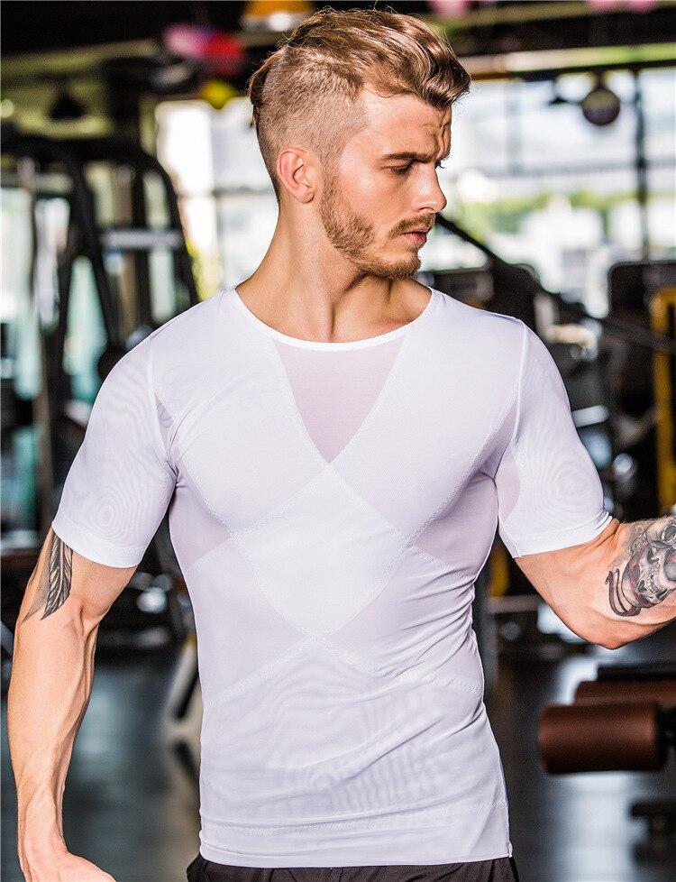 17421bdb44 Men Body Shaper Slimming Chest Binder UnderShirt Waist Control Belly Shaper  Top Corrective Tummy Trimmer Underwear