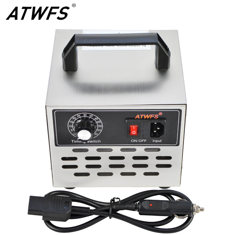 12v Car Ozone Generator Power Supply Ozonator Air Cleaner 5g Ozonizer Remove Smell Sterilizer with Timing